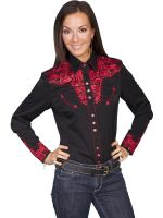 Legends by Scully Womens Western Shirt-Crimson PL-654