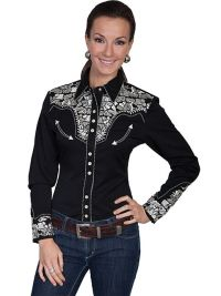 Legends by Scully Womens Western Shirt -Silver