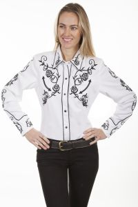 Legends by Scully Womens Western Shirt-Rose & Vine design- White
