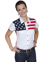 Legends by Scully Womens Western Shirt - American Flag. PL-756SS