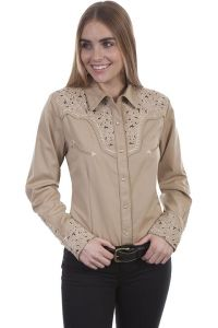 Legends  Womens Western Shirt-Tan