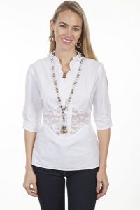 Cantina Collection 100% Peruvian cotton, 3/4 length sleeve blouse.