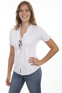 Cantina Collection Empire style 100% Peruvian cotton white blouse.