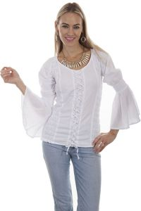 Cantina Collection by Scully soft cotton style features large puff sleeves
