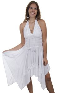 Cantina Collection By Scully, White captivating halter cotton dress with crochet overlay.
