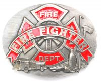 Fire Fighter Belt Buckle Enameled Made in USA