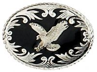 Silver Eagle on Black Enamel Belt Buckle Made in USA