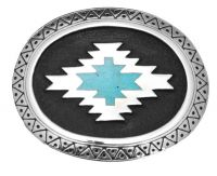 Aztec with Turquoise Inlay Belt Buckle Made in USA