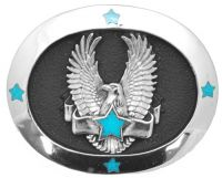 Eagle with Star and Banner Belt Buckle Made in USA