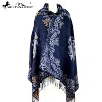 American Bling Floral Pattern Cape Poncho with Hoodie