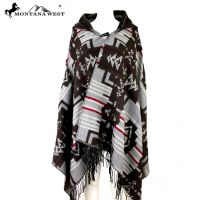 American Bling Aztec Pattern Cape Poncho with Hoodie