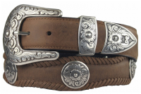 Western Floral Scalloped Hand-Sewn Genuine Leather Western Concho Belt by Diamond V Texas Star