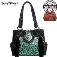 TR04G-8036A Trinity Ranch Tooled Design Concealed Handgun Collection Handbag-Black/Turquoise