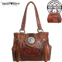 TR04G-8036A Trinity Ranch Tooled Design Concealed Handgun Collection Handbag-Brown