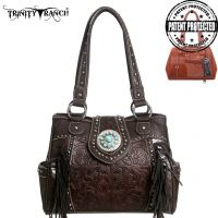 TR04G-8036A Trinity Ranch Tooled Design Concealed Handgun Collection Handbag-Coffee