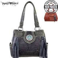 TR04G-8036A Trinity Ranch Tooled Design Concealed Handgun Collection Handbag-Grey