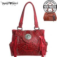TR04G-8036A Trinity Ranch Tooled Design Concealed Handgun Collection Handbag-Red
