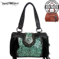TR04G-8246A Montana West Trinity Ranch Tooled Design Concealed Handbag Collection-BK/TQ