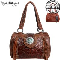 TR04G-8246A Montana West Trinity Ranch Tooled Design Concealed Handbag Collection-Brown