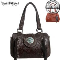 TR04G-8246A Montana West Trinity Ranch Tooled Design Concealed Handbag Collection-Coffee