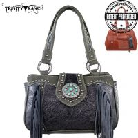 TR04G-8246A Montana West Trinity Ranch Tooled Design Concealed Handbag Collection-Grey