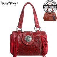 TR04G-8246A Montana West Trinity Ranch Tooled Design Concealed Handbag Collection-Red