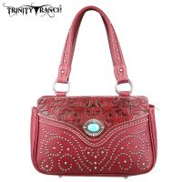 TR14-8247 Montana West Trinity Ranch Tooled Design Handbag-Burgundy