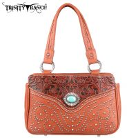TR14-8247 Montana West Trinity Ranch Tooled Design Handbag-Brown