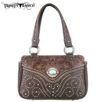 TR14-8247 Montana West Trinity Ranch Tooled Design Handbag-Coffee