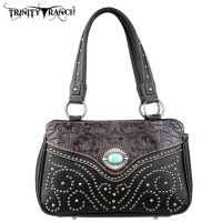 TR14-8247 Montana West Trinity Ranch Tooled Design Handbag-Black