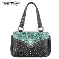 TR14-8247 Montana West Trinity Ranch Tooled Design Handbag-Turquoise