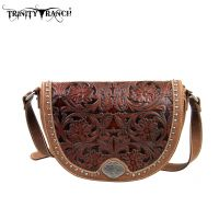 TR15-L8287 Montana West Trinity Ranch Tooled Design Collection Messenger Bag-Brown