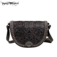 TR15-L8287 Montana West Trinity Ranch Tooled Design Collection Messenger Bag-Coffee