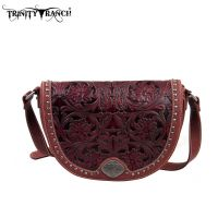 TR15-L8287 Montana West Trinity Ranch Tooled Design Collection Messenger Bag-Burgundy
