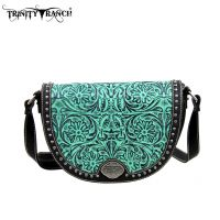 TR15-L8287 Montana West Trinity Ranch Tooled Design Collection Messenger Bag-Black
