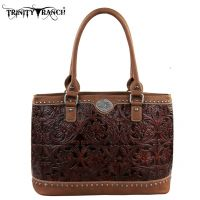 TR15-L8317 Montana West Trinity Ranch Tooled Design Collection Handbag-Brown