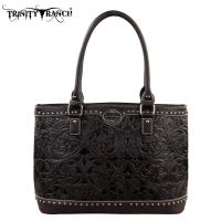 TR15-L8317 Montana West Trinity Ranch Tooled Design Collection Handbag-Coffee