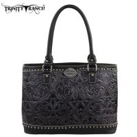 TR15-L8317  Trinity Ranch Tooled Design Collection Handbag-Blk/Grey