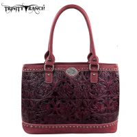 TR15-L8317 Montana West Trinity Ranch Tooled Design Collection Handbag-Burgundy