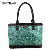 TR15-L8317 Montana West Trinity Ranch Tooled Design Collection Handbag-Black/Turquoise