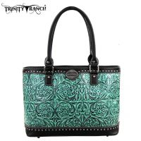 TR15-L8317 Montana West Trinity Ranch Tooled Design Collection Handbag-Blk/TQ