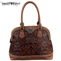 TR15-L8568 Montana West Trinity Ranch Tooled Design Collection Handbag-Brown