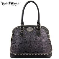TR15-L8568 Montana West Trinity Ranch Tooled Design Collection Handbag-Grey