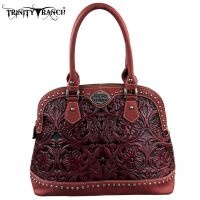 TR15-L8568 Montana West Trinity Ranch Tooled Design Collection Handbag-Burgundy