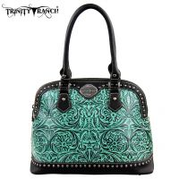 TR15-L8568 Montana West Trinity Ranch Tooled Design Collection Handbag-BK/TQ