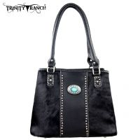 TR17-8036 Trinity Ranch Cowhide Collection Handbag-Black