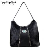 TR17-8284 Trinity Ranch Cowhide Collection Handbag-Black