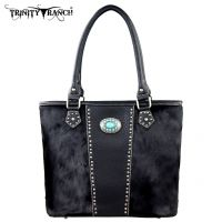 TR17-8317 Trinity Ranch Cowhide Collection Handbag-Black