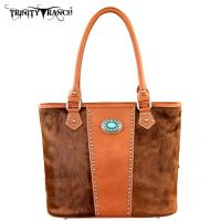 TR17-8317 Trinity Ranch Cowhide Collection Handbag-Brown