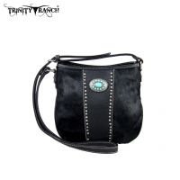 TR17-8360 Trinity Ranch Cowhide Collection Handbag-Black